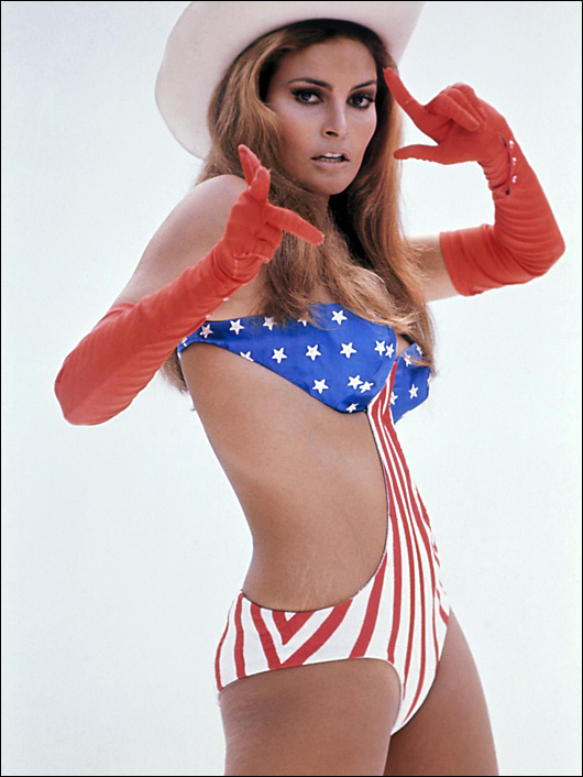 raquel welch stars & stripes bathing suit