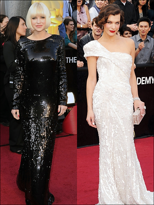 anna faris & milla jovovich 2012 academy awards