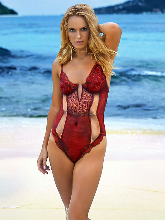 caroline wozniacki in bodypaint from SI swimsuit issue