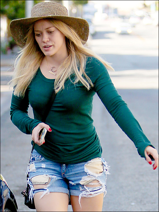 Hilary duff ripped shorts