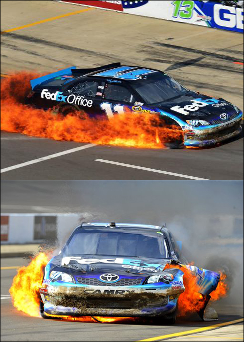 hamlin bursts into flame at mis