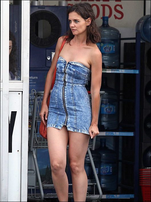 katie holmes denim dress
