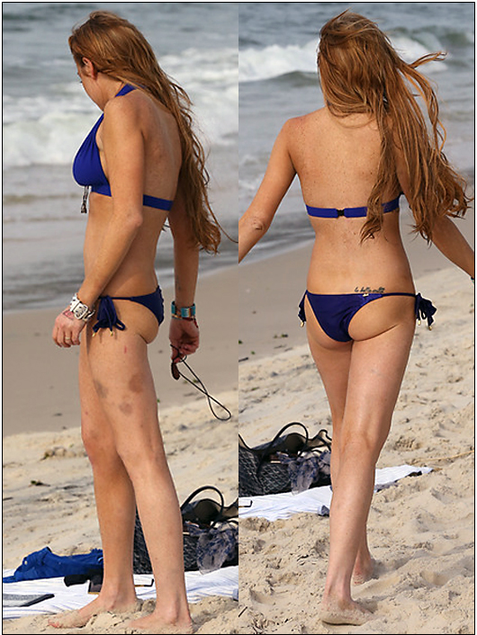 lindsay bruises and droopy ass in a bikini