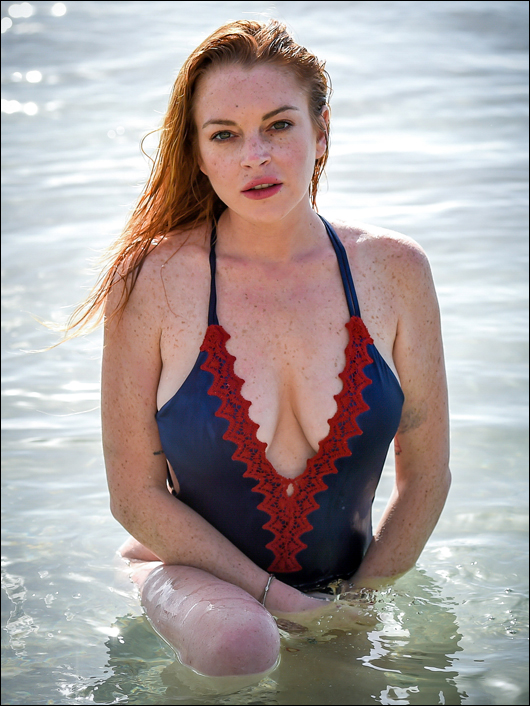 lindsay lohan one-piece swimsuit