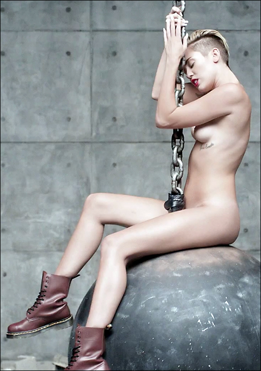 miley cyrus nude wrecking ball video