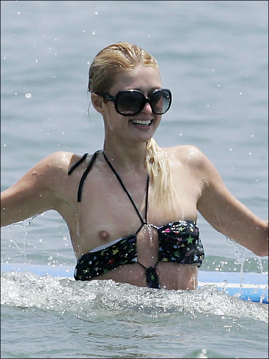 paris hilton exposed breast