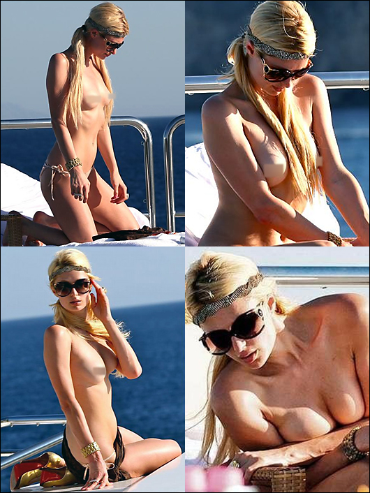 paris hilton topless on a yacht
