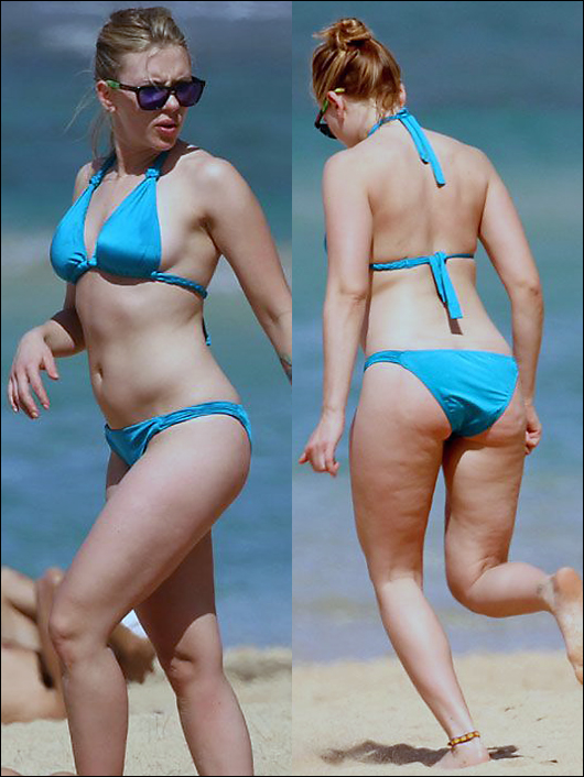 scarlett johansson bikini pics, now with more cellulite!