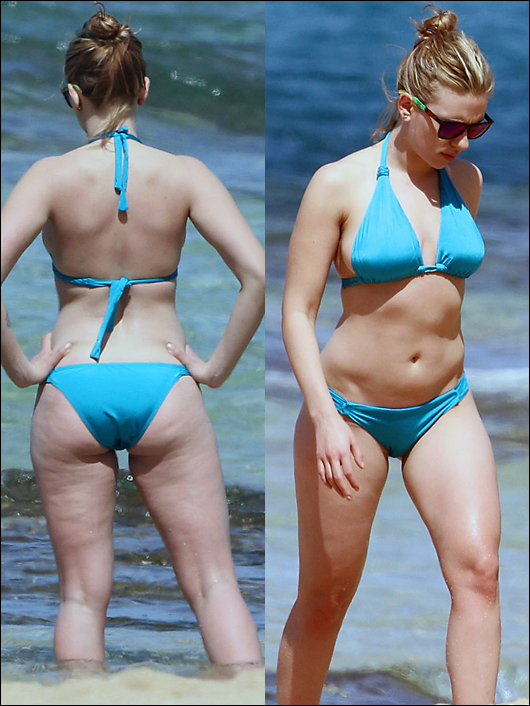 scarlett johannson bikini pics, now with more cellulite!