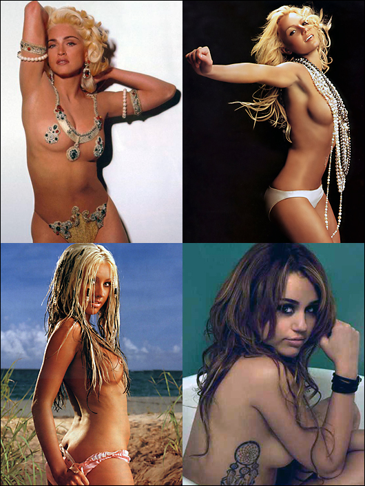 madonna, britney, christina, miley topless