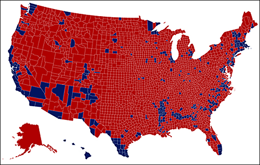 2016 election map by county
